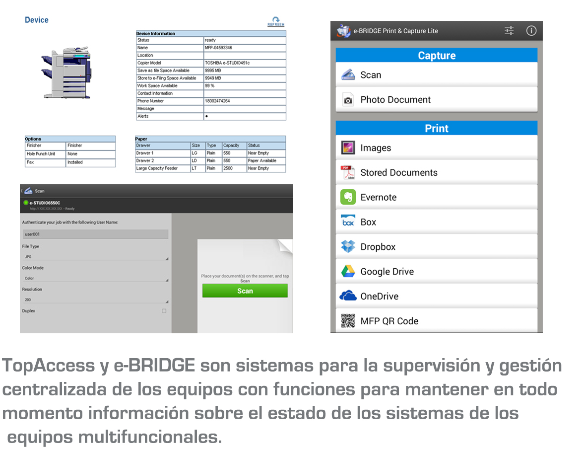 Software TOSHIBA e-BRIDGE: TopAccess y Fleet Management System